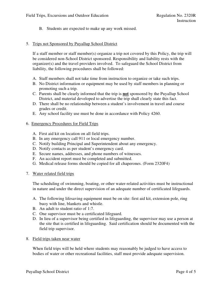 Field Trip Release Form Template Trips Policy