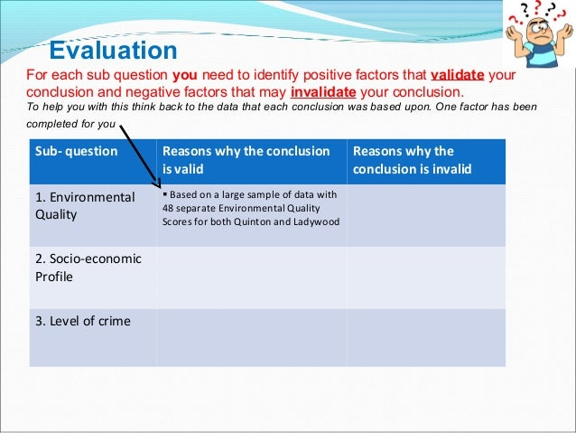 Evaluation For each sub question you need to identify positive factors that validate your conclusion and negative factors ...