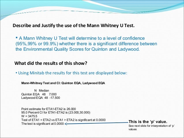 Describe and Justify the use of the Mann Whitney U Test.  A Mann Whitney U Test will determine to a level of confidence (...