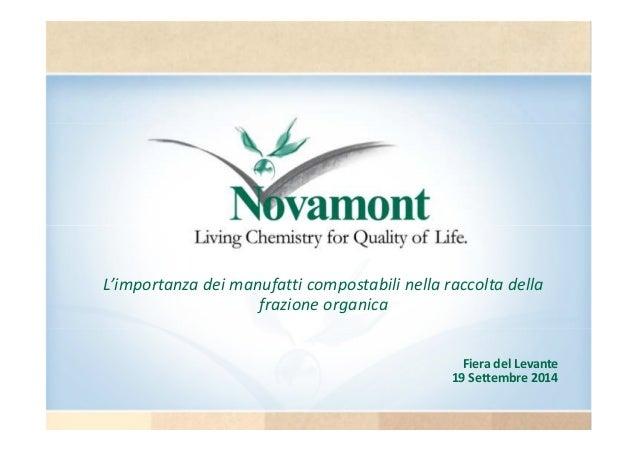 L'importanza dei manufatti compostabili nella raccolta della  Fiera del Levante  19 Settembre 2014  frazione organica