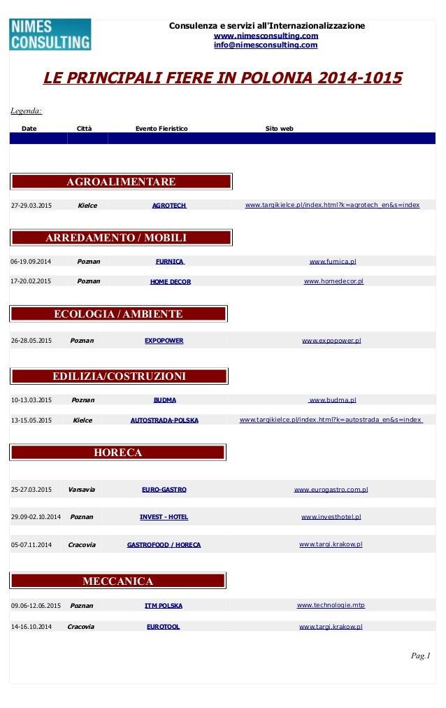 Consulenza e servizi all'Internazionalizzazione www.nimesconsulting.com info@nimesconsulting.com LE PRINCIPALI FIERE IN PO...