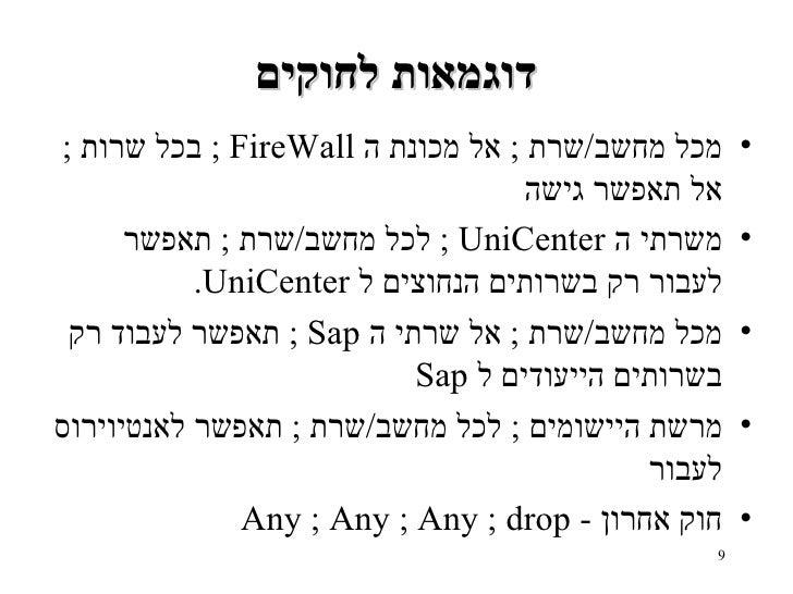 דוגמאות לחוקים <ul><li>מכל מחשב / שרת  ;  אל מכונת ה   FireWall  ;  בכל שרות  ;  אל תאפשר גישה </li></ul><ul><li>משרתי ה  ...