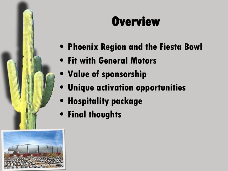 Proposed Fiesta Bowl Sponsorship For Gm Exercise