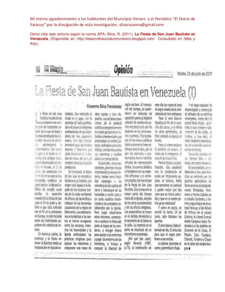 """Mi eterno agradecimiento a los habitantes del Municipio Veroes y al Periódico """"El Diario deYaracuy"""" por la divulgación de ..."""