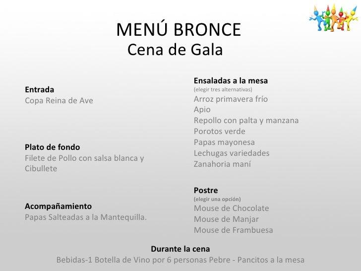 Fiesta gala for Menu de cenas