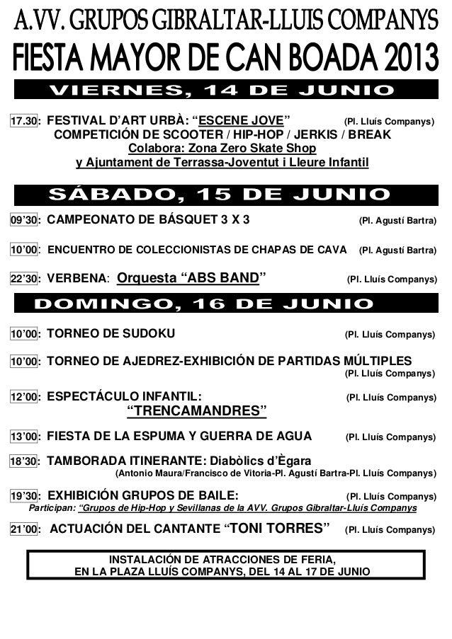 """17.30: FESTIVAL D'ART URBÀ: """"ESCENE JOVE"""" (Pl. Lluís Companys)COMPETICIÓN DE SCOOTER / HIP-HOP / JERKIS / BREAKColabora: Z..."""