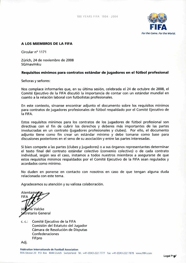 Fifa Circularno.1171 Requisitosminimosparacontratosestndardejugadoresenelfutbolprofesional