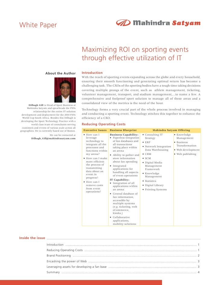 White Paper                                                              Maximizing ROI on sporting events                ...