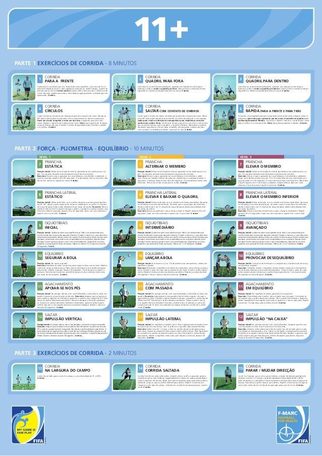 11+ PARTE 1 EXERCÍCIOS DE CORRIDA · 8 MINUTOS 1  CORRIDA PARA A FRENTE  O percurso é constituído por 6 a 10 pares de cones...
