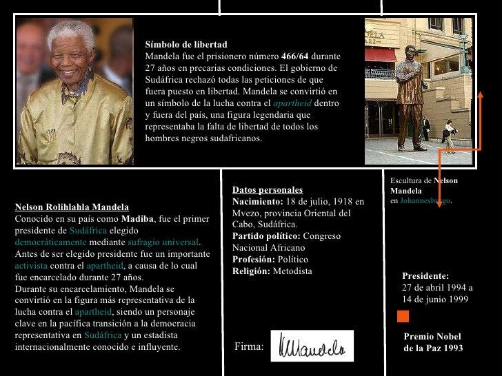 Nelson Rolihlahla Mandela   Conocido en su país como  Madiba , fue el primer presidente de  Sudáfrica  elegido  democrátic...
