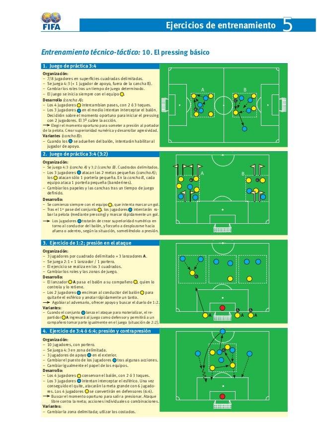 Ejercicios de entrenamient o 5  Entrenamiento técnico-táctico: 10. El pressing básico  1. Juego de práctica 3:4  Organizac...