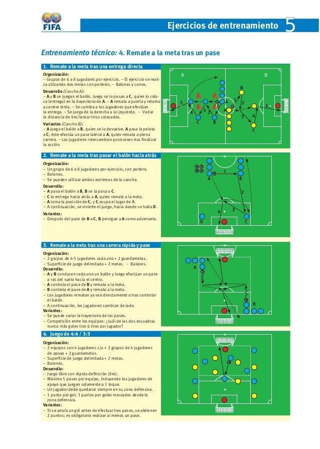 Ejercicios de entrenamient o 5  Entrenamiento técnico: 4. Remate a la meta tras un pase  1. Remate a la meta tras una entr...