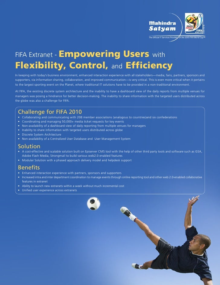 FIFA Extranet - Empowering                          Users with Flexibility, Control, and Efficiency In keeping with today'...