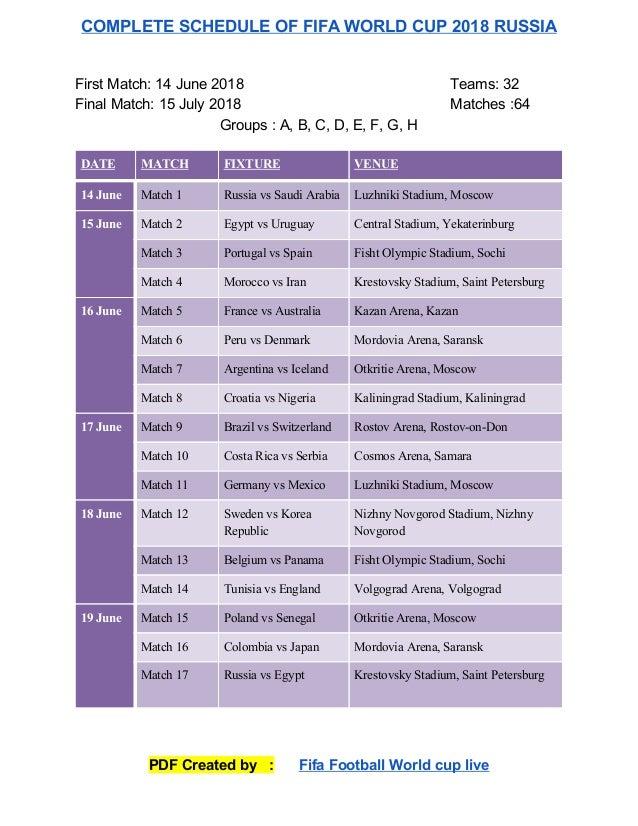 Pdf schedule world cup