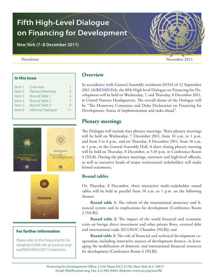 Fifth High-Level Dialogue on Financing for Development New York (7–8 December 2011)    Newsletter                         ...