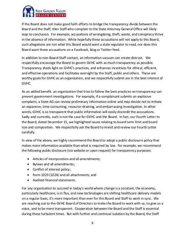 Fifth letter to the Board Staff Contact WhistleBlower Policy and T – Letter of Good Faith