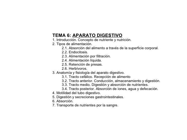 TEMA 6:  APARATO DIGESTIVO 1. Introducción. Concepto de nutriente y nutrición. 2. Tipos de alimentación.  2.1. Absorción d...
