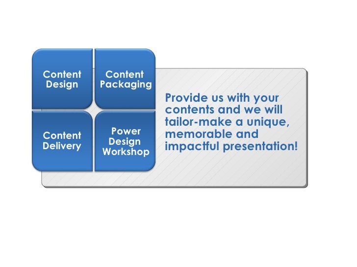 Provide us with your contents and we will tailor-make a unique, memorable and impactful presentation! Content Design Conte...