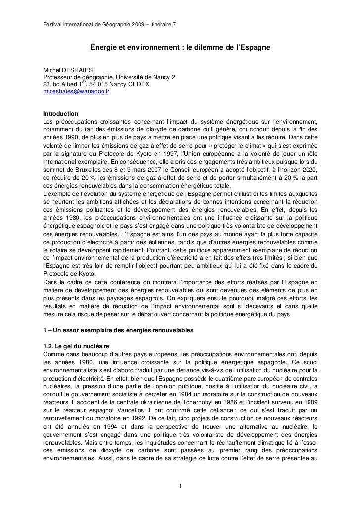 Festival international de Géographie 2009 – Itinéraire 7                   Énergie et environnement : le dilemme de l'Espa...