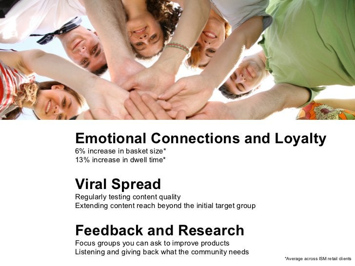 Emotional Connections and Loyalty 6% increase in basket size* 13% increase in dwell time* Viral Spread Regularly testing c...