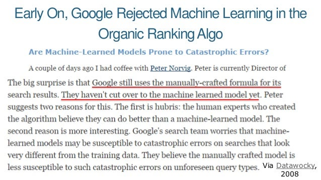 Early On, Google Rejected Machine Learning in the Organic RankingAlgo Via Datawocky, 2008