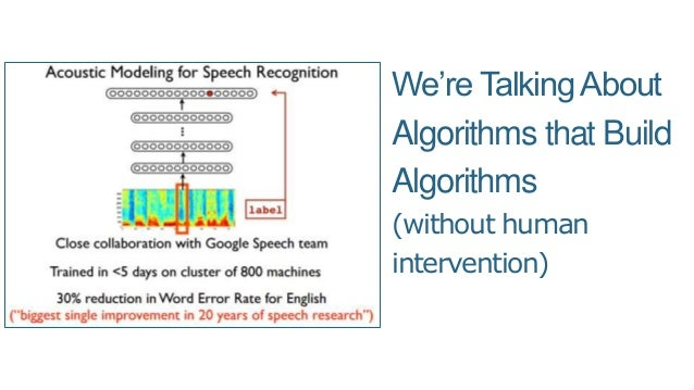 We're TalkingAbout Algorithms that Build Algorithms (without human intervention)