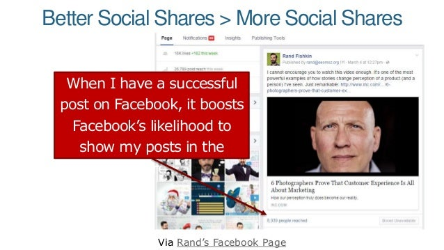 Better Social Shares > More Social Shares Via Rand's Facebook Page When I have a successful post on Facebook, it boosts Fa...