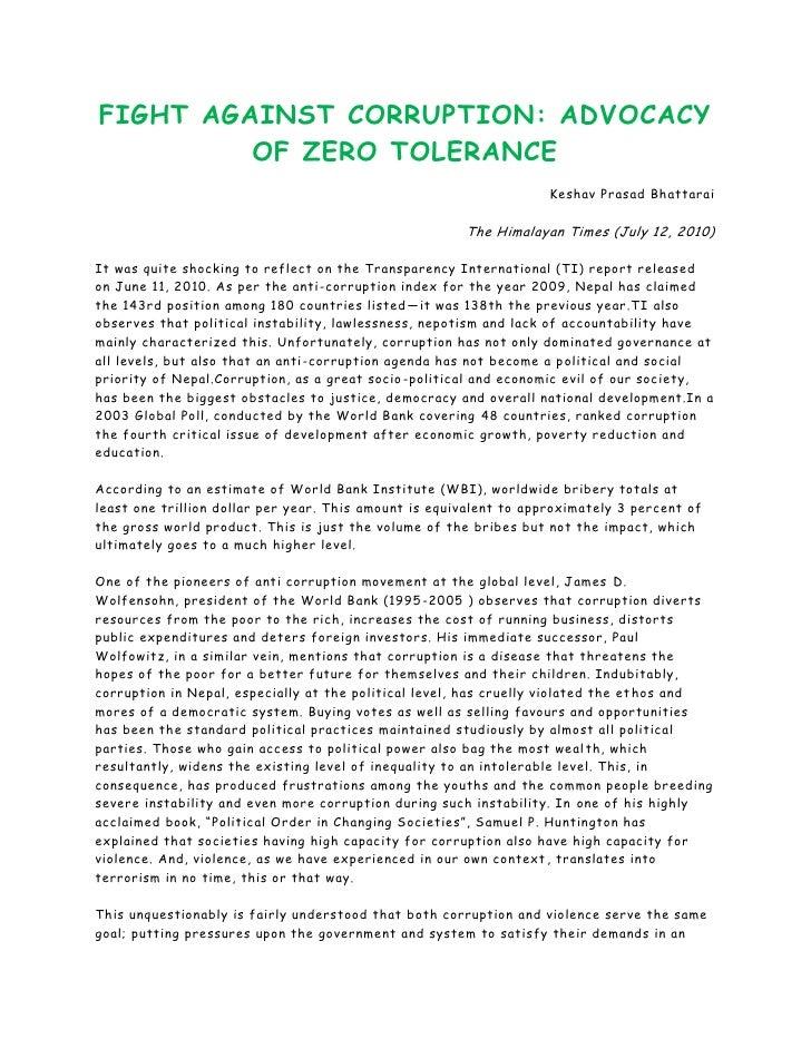 FIGHT AGAINST CORRUPTION: ADVOCACY         OF ZERO TOLERANCE                                                              ...