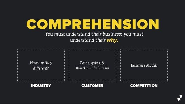 COMPREHENSIONYou must understand their business; you must understand their why. How are they different? Pains, gains, & un...