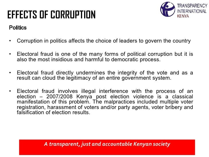 effects of corruption Corruption and development in africa: challenges for political its negative effects public education as to the detrimental effects of corruption is.