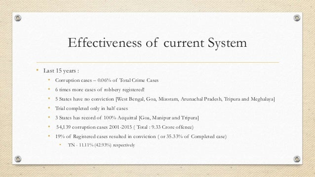 Effectiveness of current System • Last 15 years : • Corruption cases – 0.06% of Total Crime Cases • 6 times more cases of ...