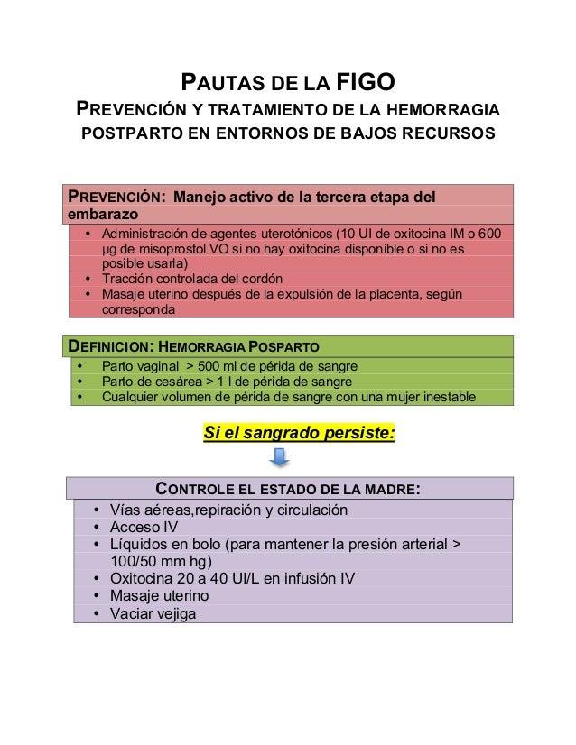 PAUTAS DE LA FIGO PREVENCIÓN Y TRATAMIENTO DE LA HEMORRAGIA POSTPARTO EN ENTORNOS DE BAJOS RECURSOS PREVENCIÓN: Manejo act...