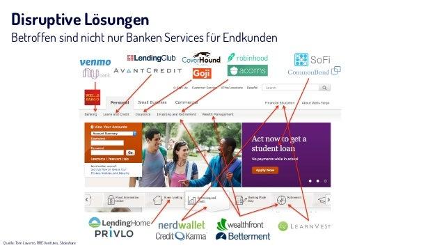 Disruptive Lösungen Betroffen sind nicht nur Banken Services für Endkunden Quelle: Tom Loverro, RRE Ventures, Slideshare