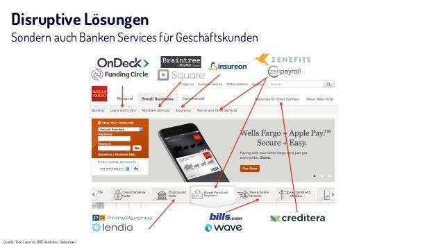 Disruptive Lösungen Sondern auch Banken Services für Geschäftskunden Quelle: Tom Loverro, RRE Ventures, Slideshare