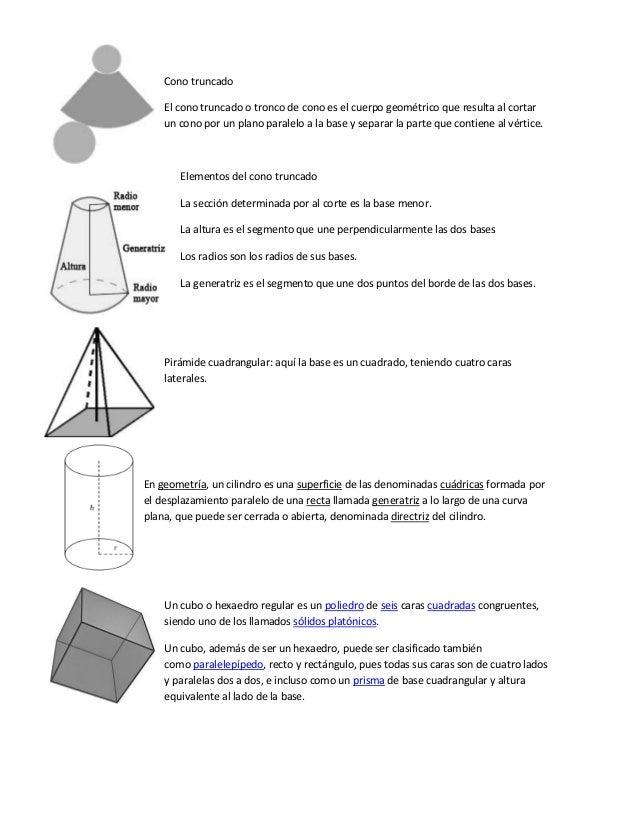 Cono truncado El cono truncado o tronco de cono es el cuerpo geométrico que resulta al cortar un cono por un plano paralel...