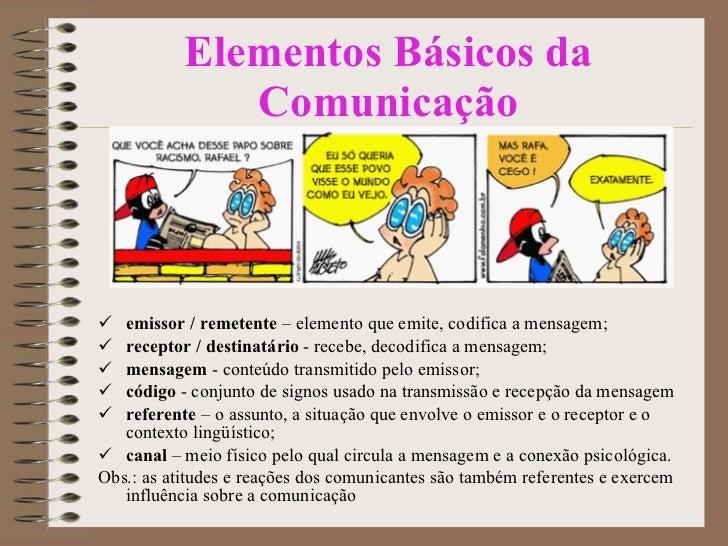Elementos Básicos da Comunicação <ul><li>emissor / remetente  – elemento que emite, codifica a mensagem; </li></ul><ul><li...