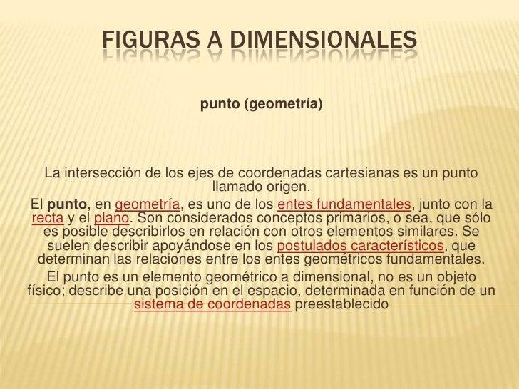 Figuras a dimensionales<br />punto (geometría)<br />La intersección de los ejes de coordenadas cartesianas es un punto lla...