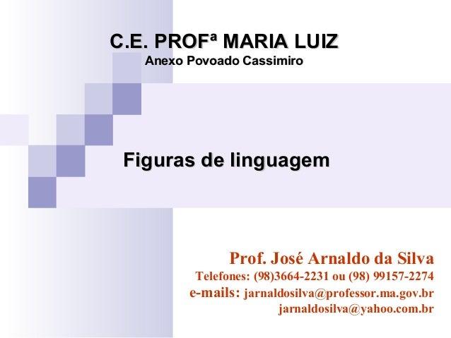 Figuras de linguagemFiguras de linguagem C.E. PROFª MARIA LUIZC.E. PROFª MARIA LUIZ Anexo Povoado CassimiroAnexo Povoado C...