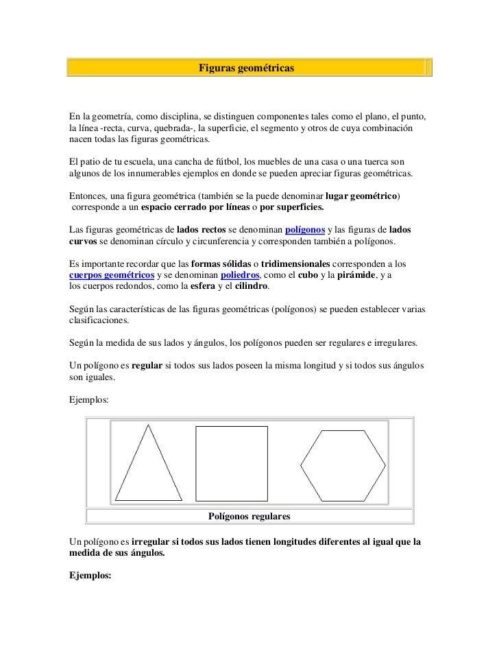 Figuras geométricas<br /><br />En la geometría, como disciplina, se distinguen componentes tales como el plano, el punto...
