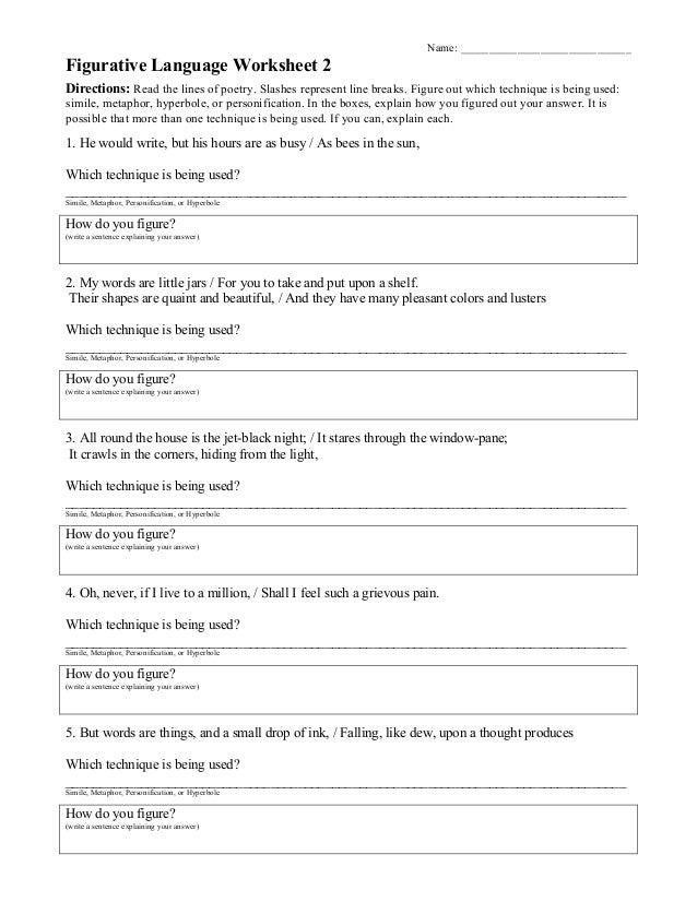 Identifying Figurative Language Worksheet Answers jannatulduniya – Figurative Language Worksheets 4th Grade
