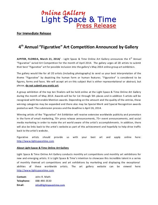 """For Immediate Release 4th Annual """"Figurative"""" Art Competition Announced by Gallery JUPITER, FLORIDA, March 21, 2014/ - Lig..."""