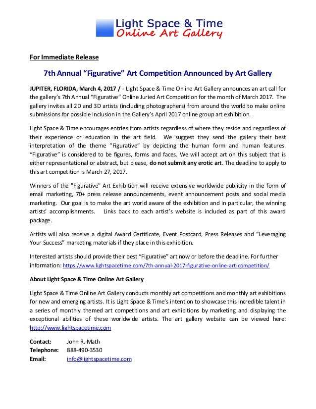 "Call For Entries – 7Th Annual ""Figurative"" Online Art Competition"