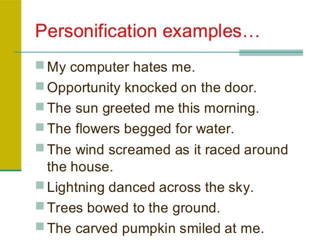 figurative language personification examples