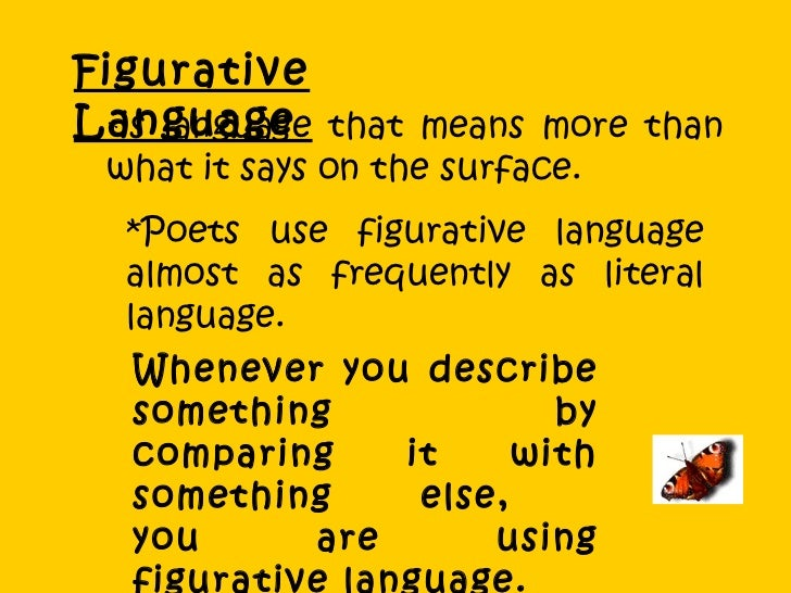 Figurative Language  * is language that means more than what it says on the surface.  *Poets use figurative language almos...