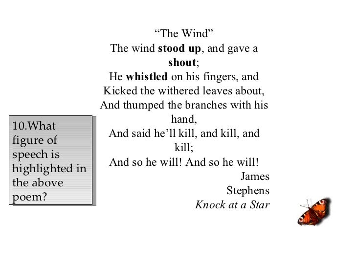 """"""" The Wind"""" The wind  stood up , and gave a  shout ; He  whistled  on his fingers, and Kicked the withered leaves about, A..."""