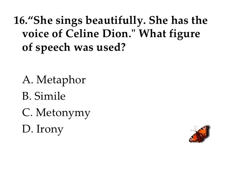 """16.""""She sings beautifully. She has the voice of Celine Dion."""" What figure of speech was used? A. Metaphor B. Simile C..."""