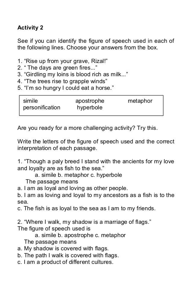 Figurative languagekagang – Figures of Speech Worksheet