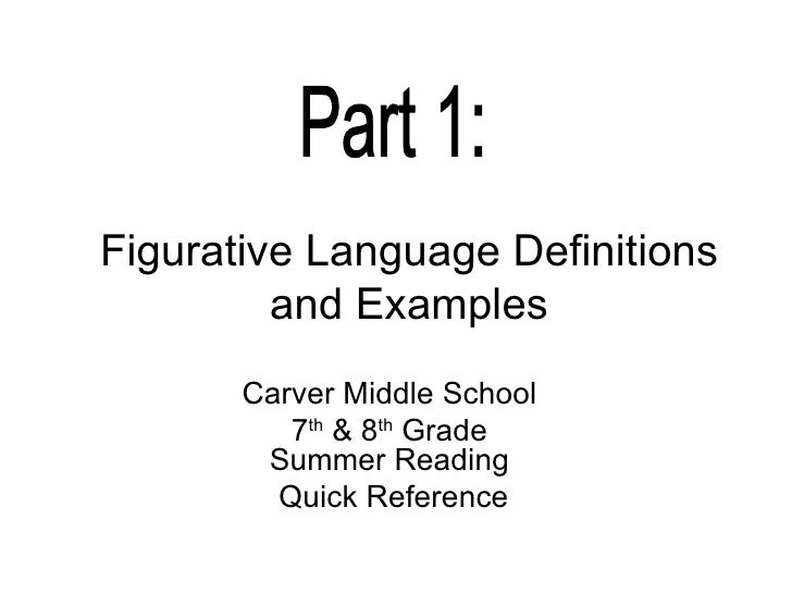 Figurative Language Definitions and Examples Carver Middle School 7 th  & 8 th  Grade  Summer Reading Quick Reference Part...
