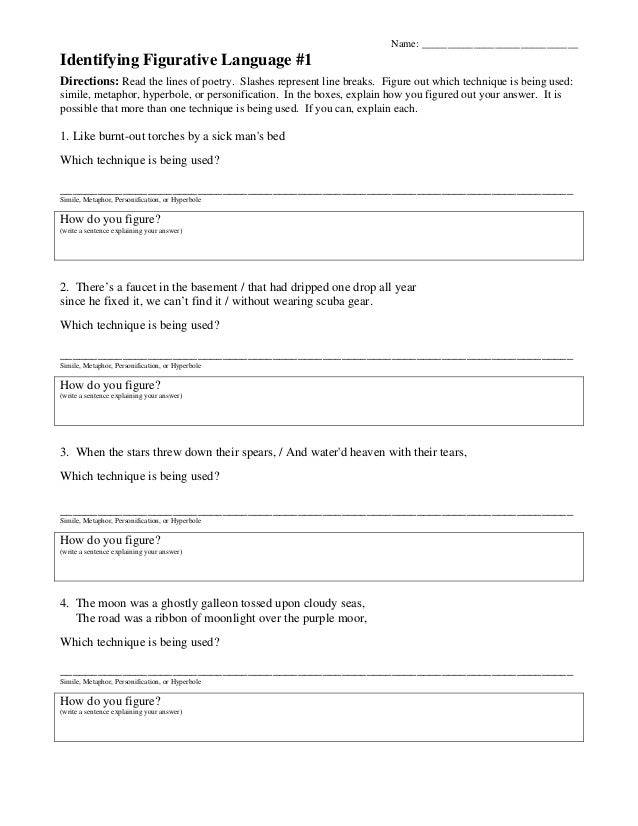 figurative language worksheets 5th grade – streamclean.info