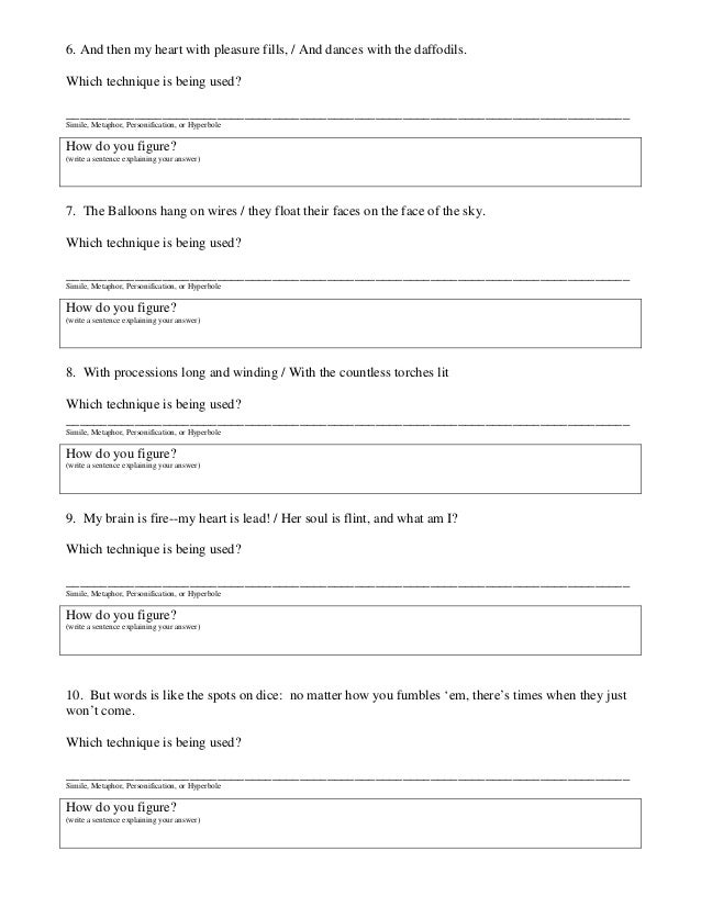 Simile Metaphor Hyperbole Personification Worksheet Free – Personification Worksheet